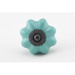 Turkusowa ceramiczna gałka do mebli ROZETA