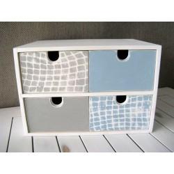 Pudełko z 4 szufladami niebiesko szare