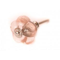 Szklany uchwyt do mebli w kształcie gałki różowa