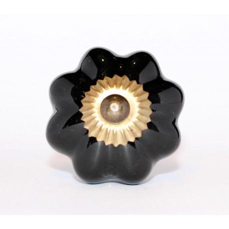 Czarny ceramiczny uchwyt do mebli ROZETA