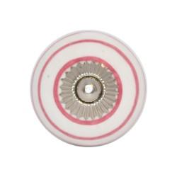 Biały uchwyt do mebli w różowe paski