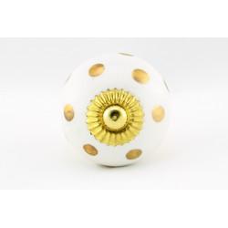 Biała gałka do mebli w złote kropki