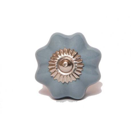 Niebiesko-szary ceramiczny uchwyt do mebli ROZETA