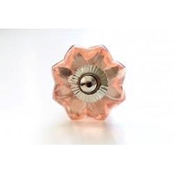 Różowy szklany uchwyt do mebli w kształcie rozety