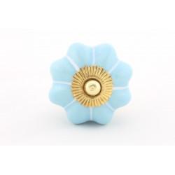 Błękitna ceramiczna gałka do mebli ROZETA