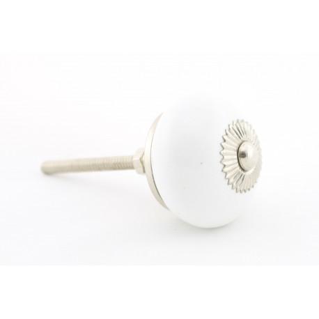 Biała ceramiczna gałka do mebli okrągła
