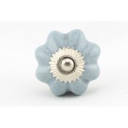 Szaro niebieska ceramiczna gałka do mebli ROZETA