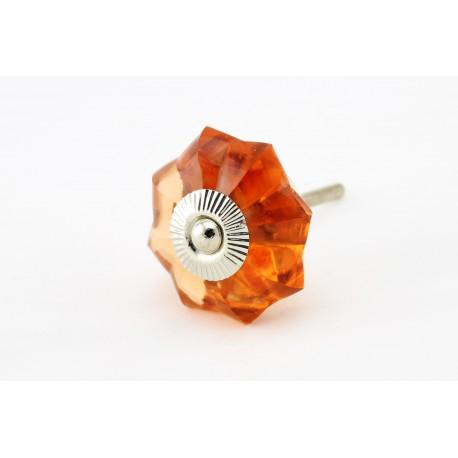 Pomarańczowy szklany uchwyt do mebli w kształcie rozety