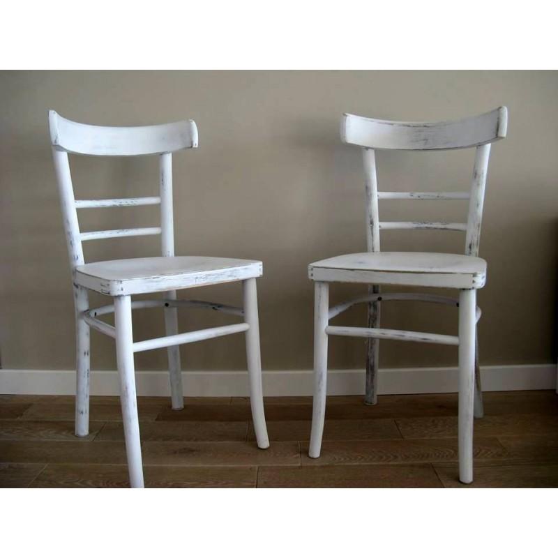 Modne ubrania Krzeslo biale w stylu retro/vintage z drewna gietego z lat 50tych CH74