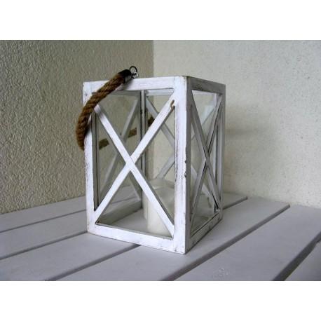 Biały Lampion drewniany shabby chic 24cm