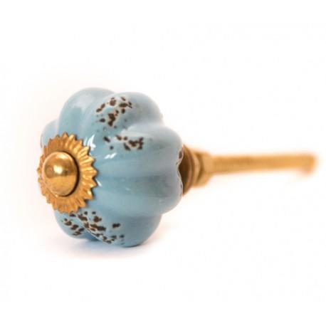 Błękitna ceramiczna gałka do mebli w stylu vintage
