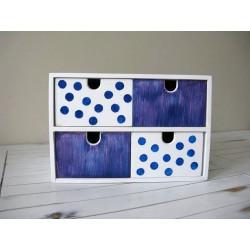 Pudełko z 4 szufladami fioletowo-niebieskie