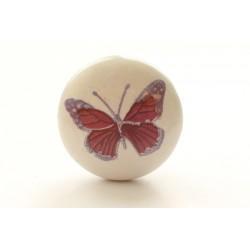 Biała gałka do mebli fioletowy motyl